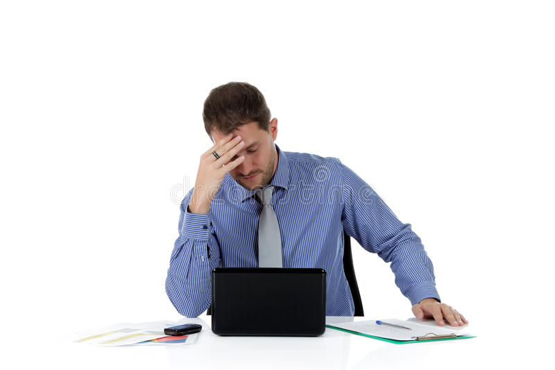 Young attractive caucasian businessman, headache royalty free stock photos