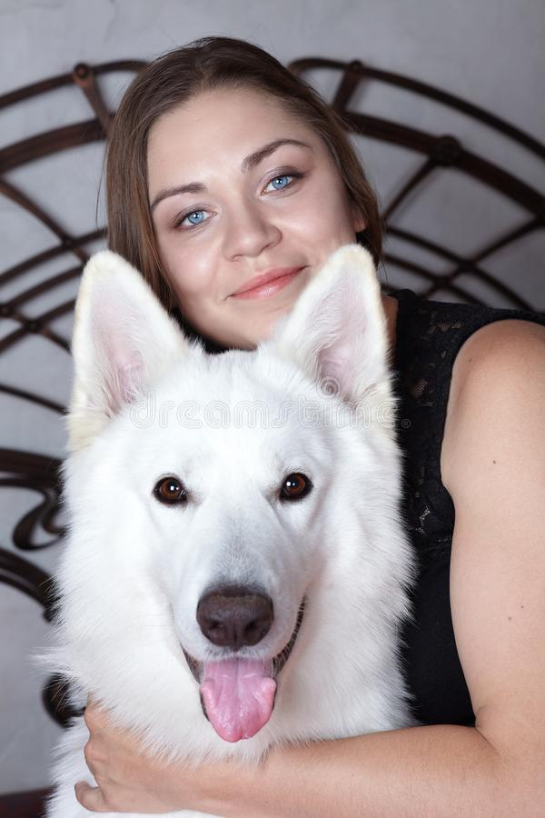 Young attractive caucasian woman embrases expressive dog of big swiss shepherd breed. Beautiful female and snowy white dog like Gh. Ost, smiling. Indoors, copy stock image