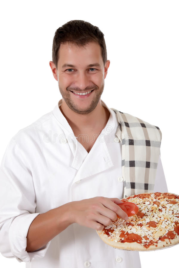 Young attractive chef male, pizza royalty free stock image