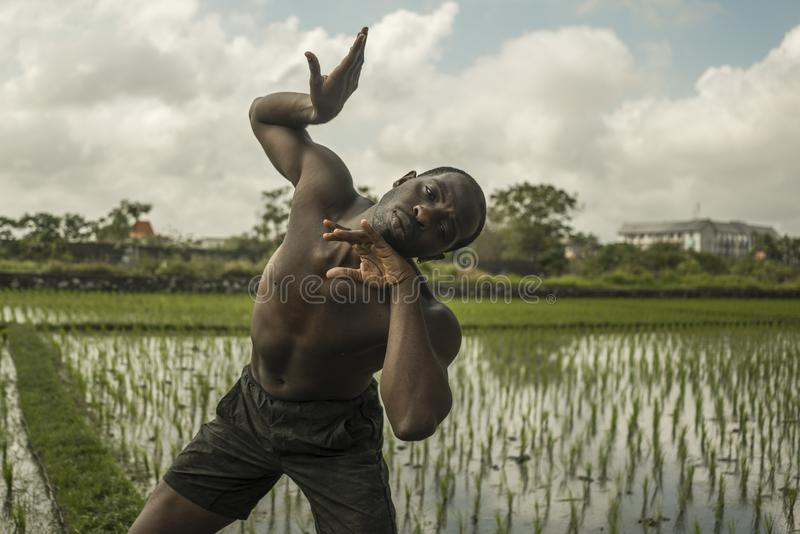 Young attractive contemporary ballet dancer and choreographer , a black African American man dancing and posing on tropical rice stock photos