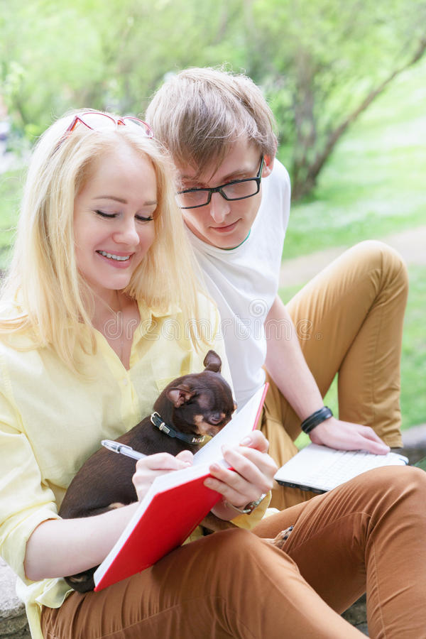 Young attractive couple wearing glasses is working or studying with laptop book note and pen sitting on blanket in green park at s royalty free stock photo