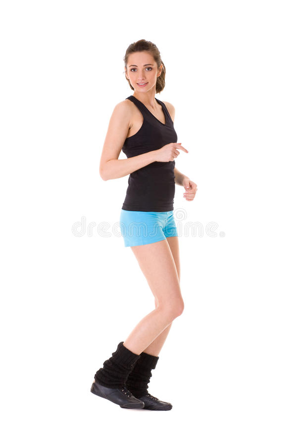 Young attractive female exercise, isolated royalty free stock image