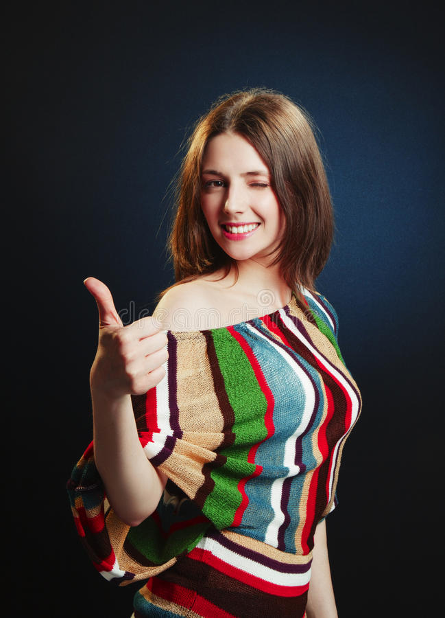 Download Young Attractive Female With Thumbs-up Stock Photo - Image: 25519420
