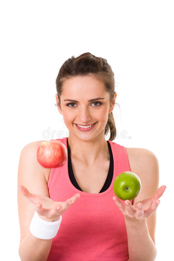 Free Young Attractive Female With Red And Green Apple Royalty Free Stock Photo - 15498305