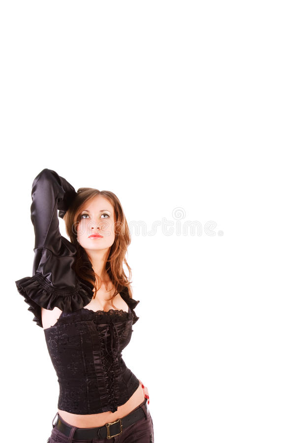 Young attractive girl in black stock photos