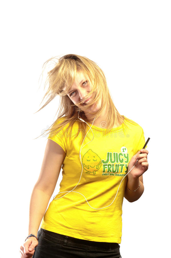Young Attractive Girl Dancing With A Mp3 Player Stock Photo