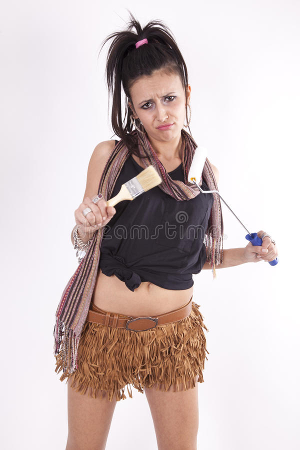 Download Young Attractive Girl Holding Painter Tools Stock Photo - Image: 24509818