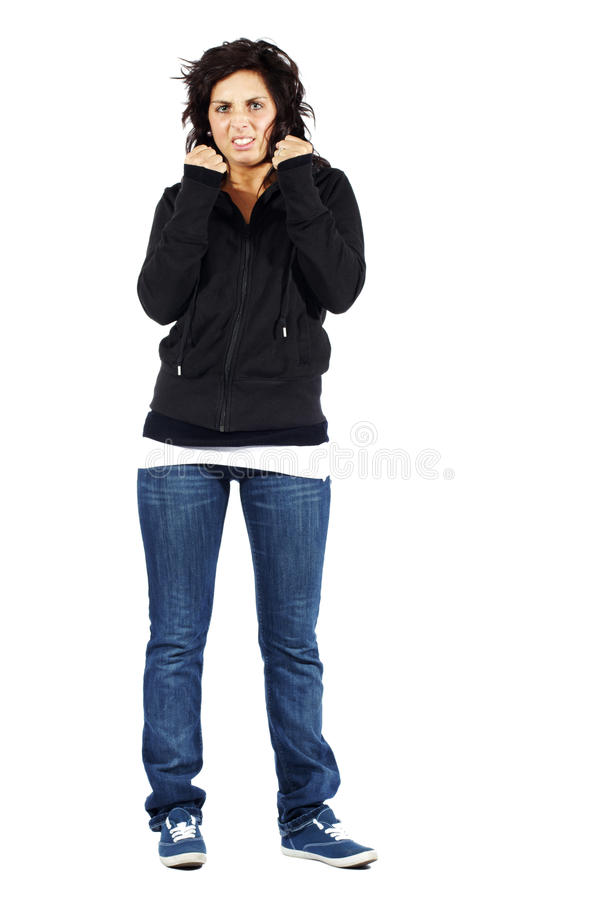 Young attractive girl in hoodie frustrated stock photos