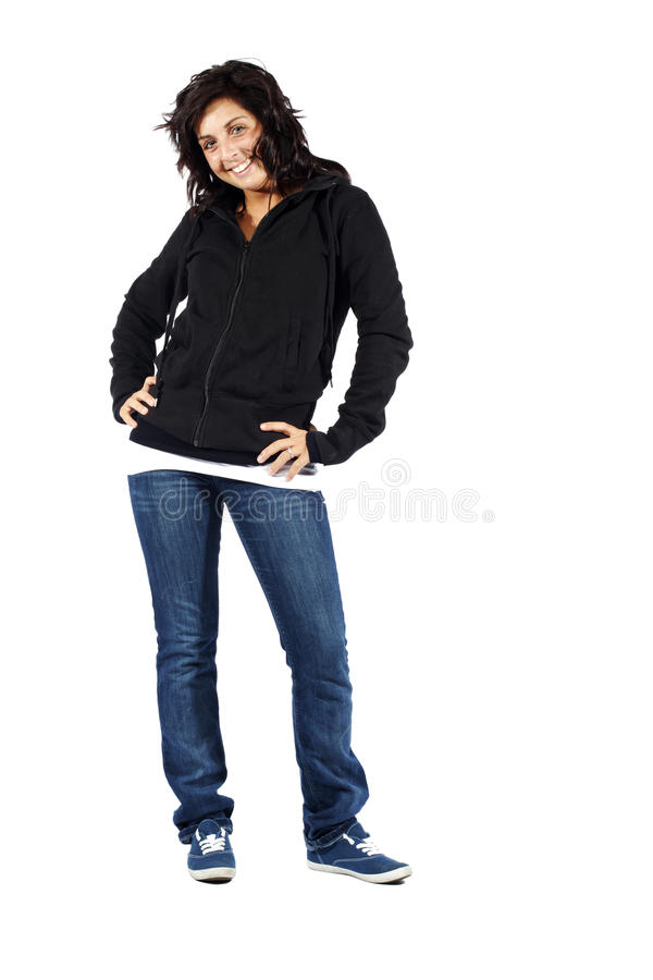Young attractive girl in hoodie smiling stock images