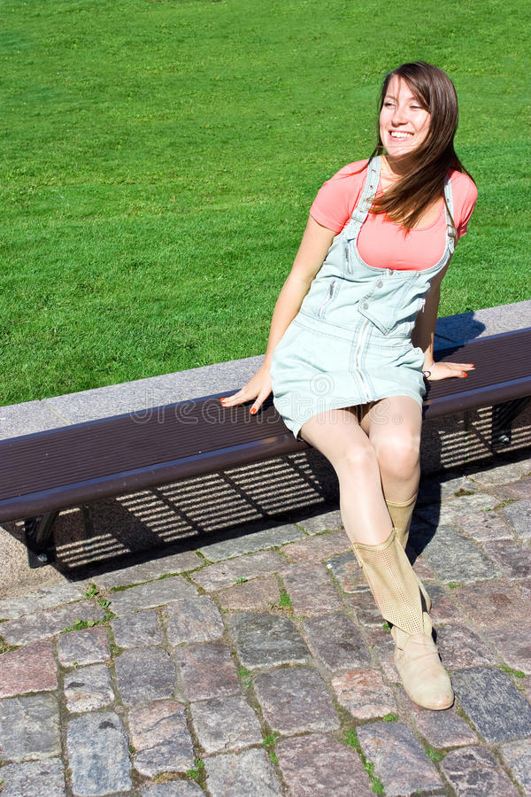 Download Young Attractive Girl Model Sitting On Bench Stock Photo - Image: 16651736