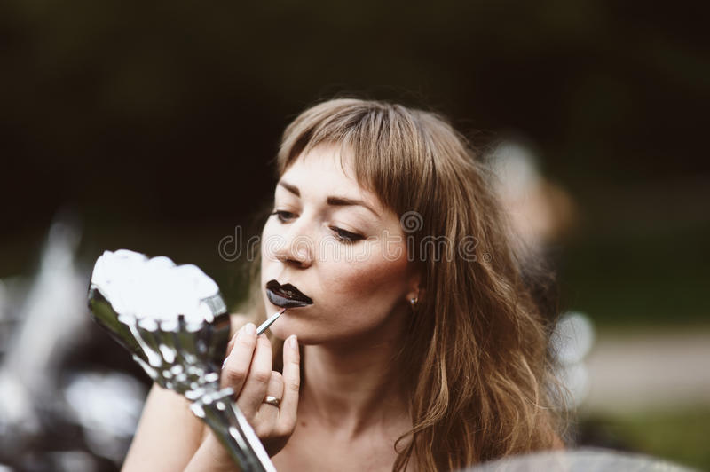 Download Young Attractive Girl And Motorcycle Stock Photo - Image: 28765150
