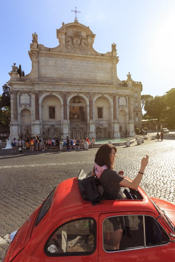 Young attractive girl taking a selfie in fron o the Gianicolo Church in Rome. Rome, Italy - June 9, 2018: Young attractive girl taking a selfie in fron o the royalty free stock photos