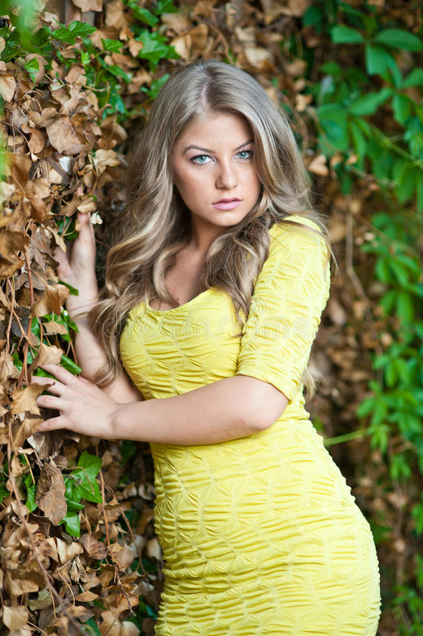 Download Young Attractive Girl With Yellow Dress Outdoor Stock Image - Image: 25145165
