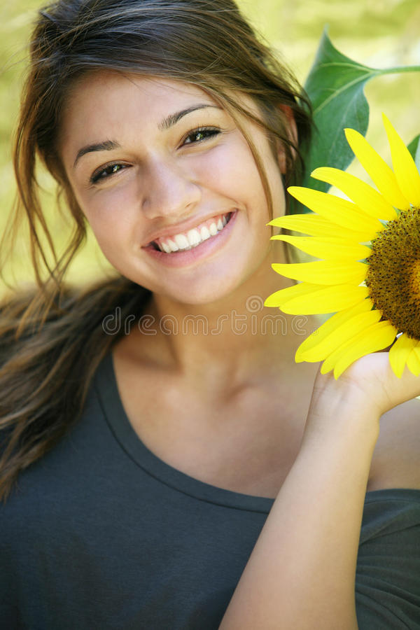 Young attractive happy girl. stock photo