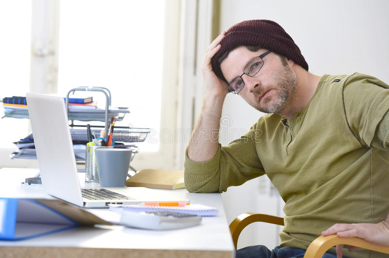 Download Young Attractive Hipster Businessman Working From Home Office As Freelancer Self Employed Business Model Stock Photo - Image of design, european: 67966096
