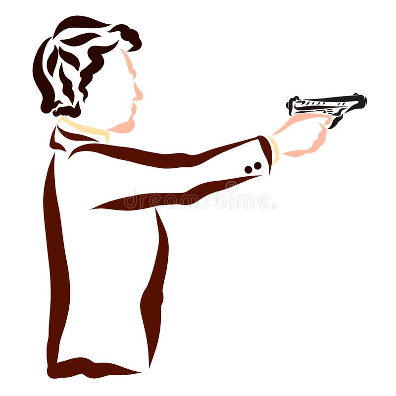 Young attractive man in a business jacket shoots a pistol royalty free illustration