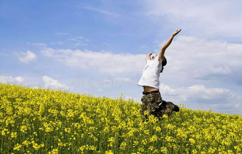 Young attractive man in summer field royalty free stock photos