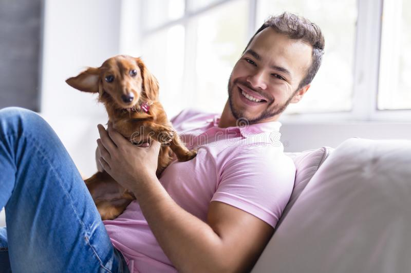 Young attractive mexican man at home sitting on couch royalty free stock image
