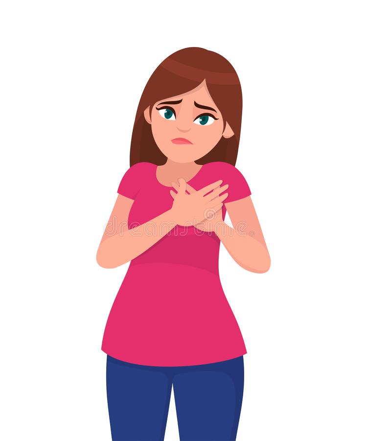 Young attractive painful woman holds hands on chest. Sick woman with heart attack, pain, health problem holding touching her chest. With hands. Human emotion stock illustration