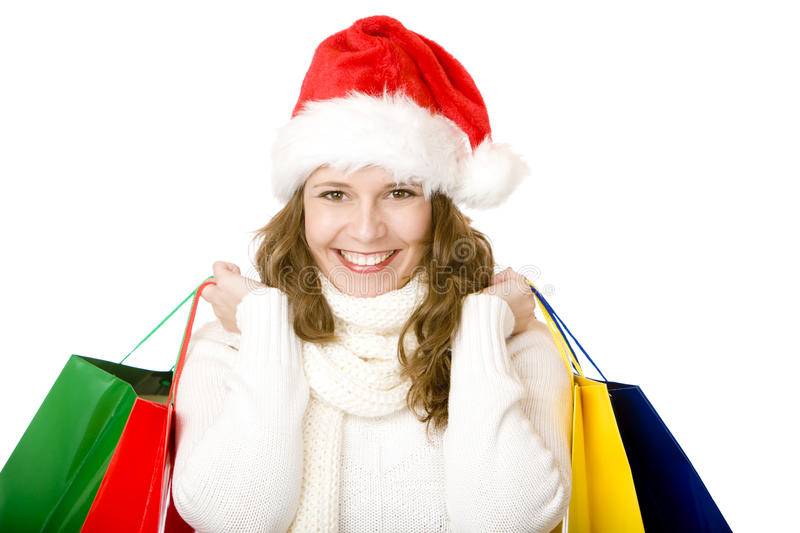 Download Young Attractive Santa Claus Woman Doing Shopping Stock Image - Image: 12906713