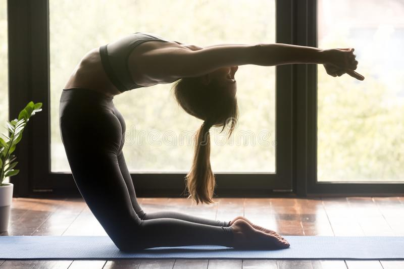 Young attractive sporty woman doing Ustrasana exercise stock photography