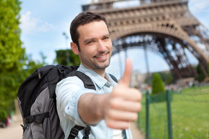 Young attractive traveler in Paris royalty free stock photo