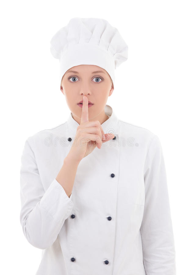 young attractive woman chef showing silence sign isolated on white royalty free stock images