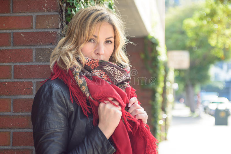 Young attractive woman in the city stock photos