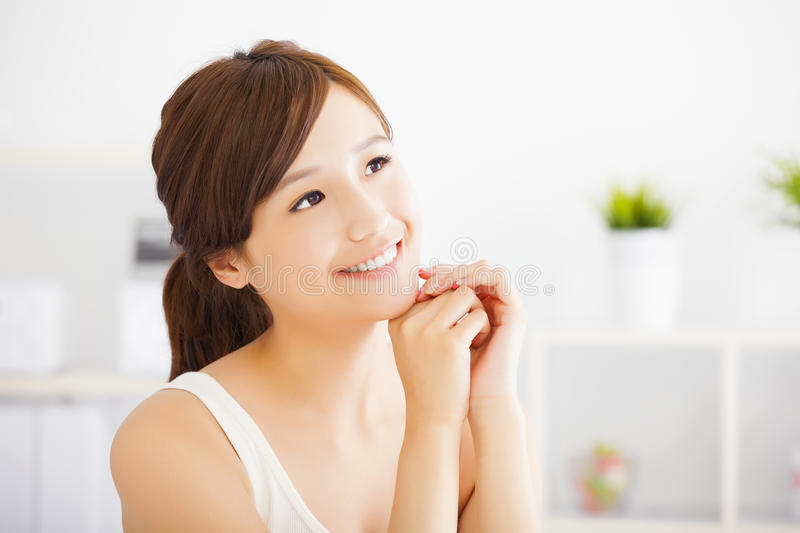 Young attractive woman with clean skin stock image