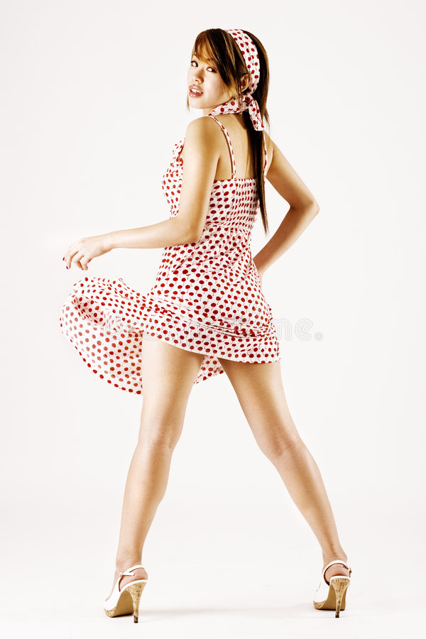Young attractive woman dancing stock photography