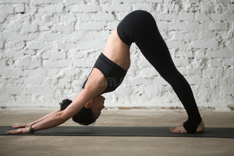 Young attractive woman in Downward facing dog pose, loft backgro. Young yogi attractive woman practicing yoga concept, standing in Downward facing dog exercise stock images