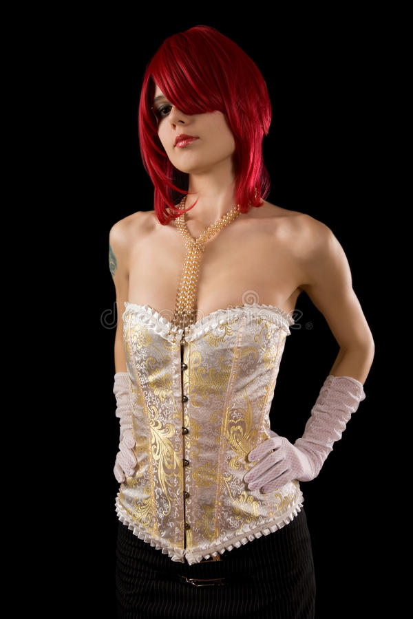 Young attractive woman in glamour corset royalty free stock photos