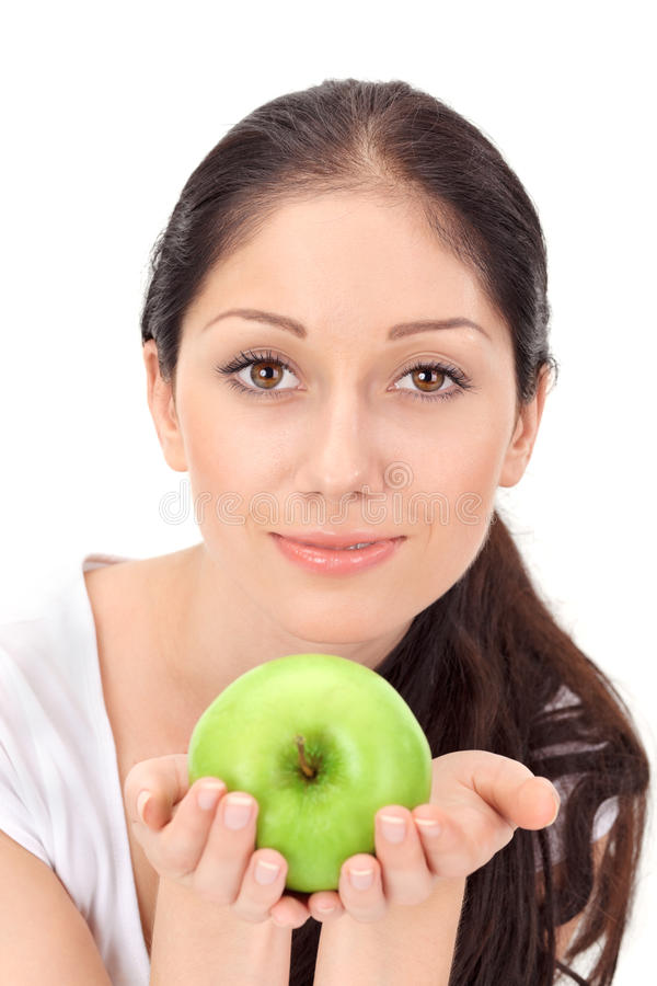 Young attractive woman with green apple