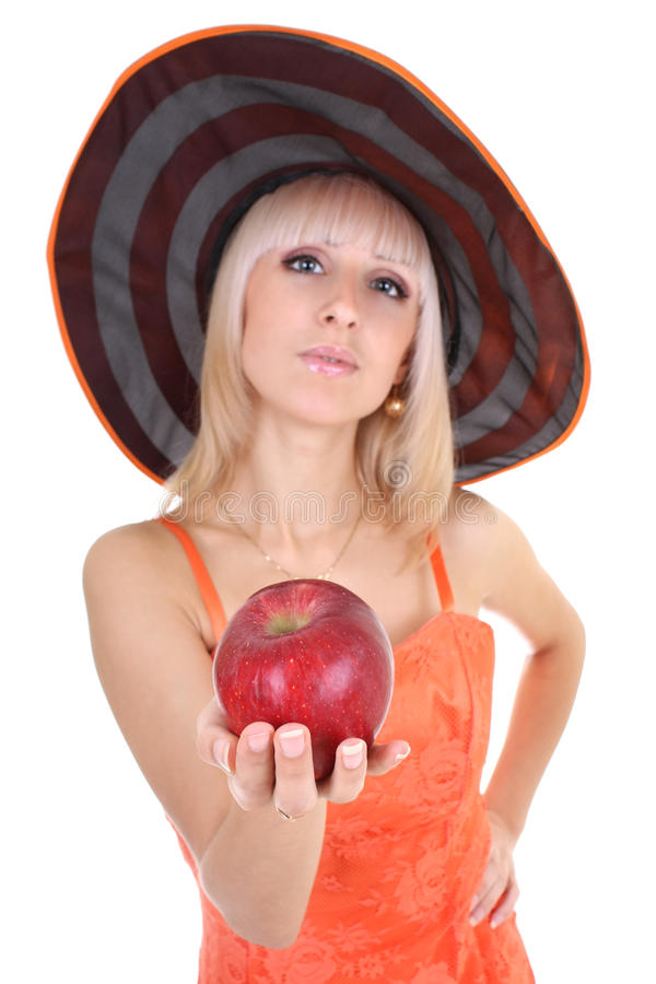 Young Attractive Woman In Hat With Red Apple Stock Photos
