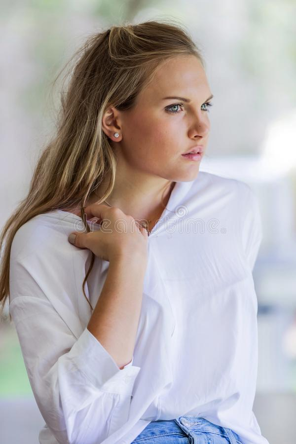 Young Attractive women looking away from camera. stock photos