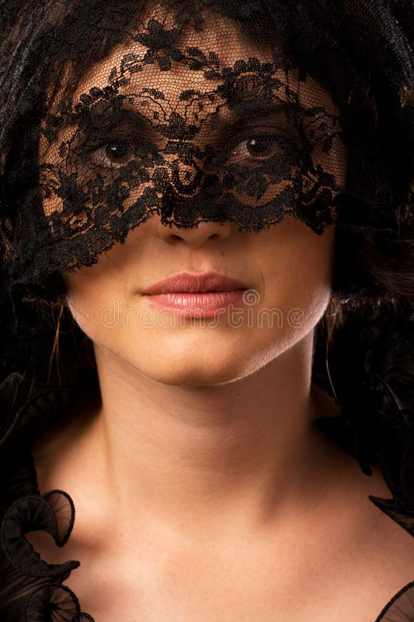 Young attractive woman in mourning royalty free stock photography