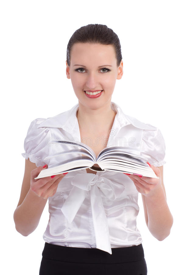 Young attractive woman with opened book royalty free stock image