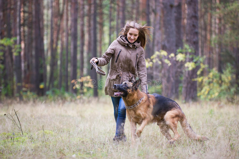 Young attractive woman playing with German Shepherd dog outdoors in the autumn park stock photos