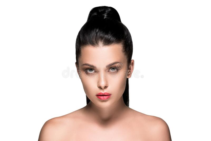 young attractive woman with ponytail and red lips royalty free stock photo