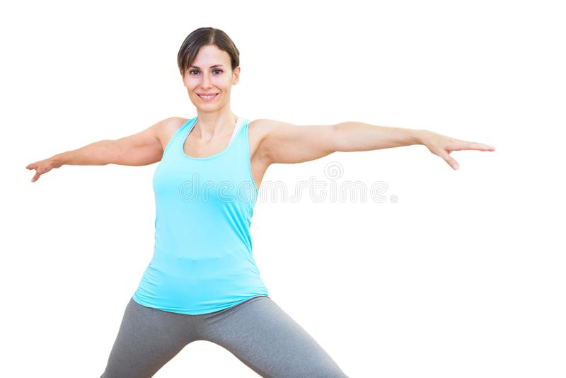 Young attractive woman practicing yoga on white isolated background stock photography