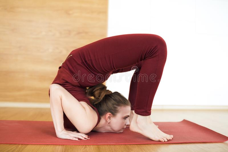 Young attractive woman in a red suit practicing yoga, standing in Scorpion exercise, vrischikasana pose, working out, wearing spor stock photo