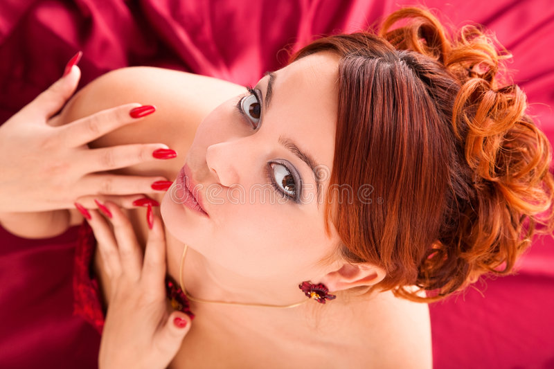 Download Young Attractive Woman Sitting In Long Red Dress Stock Image - Image: 7467429