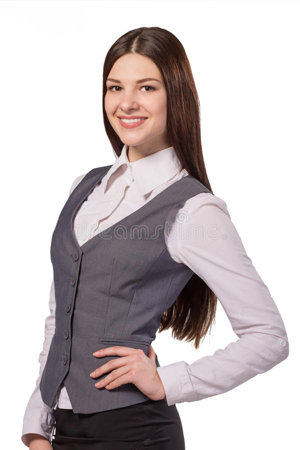 Young attractive woman smiling isolated stock image