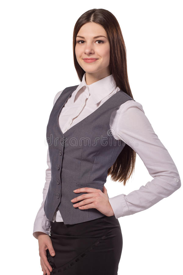 Young attractive woman smiling isolated royalty free stock photo