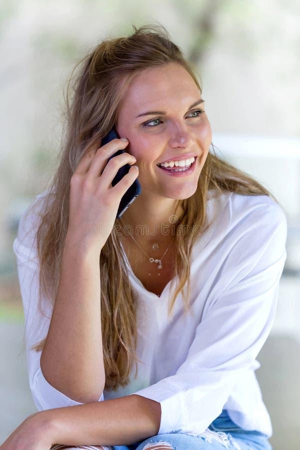 Women talking on mobile phone. royalty free stock photo