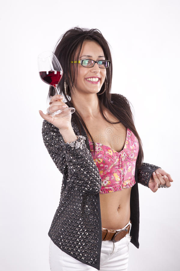 Download Young Attractive Woman Toast With Her Drink Stock Image - Image of lady, cheerful: 24509555