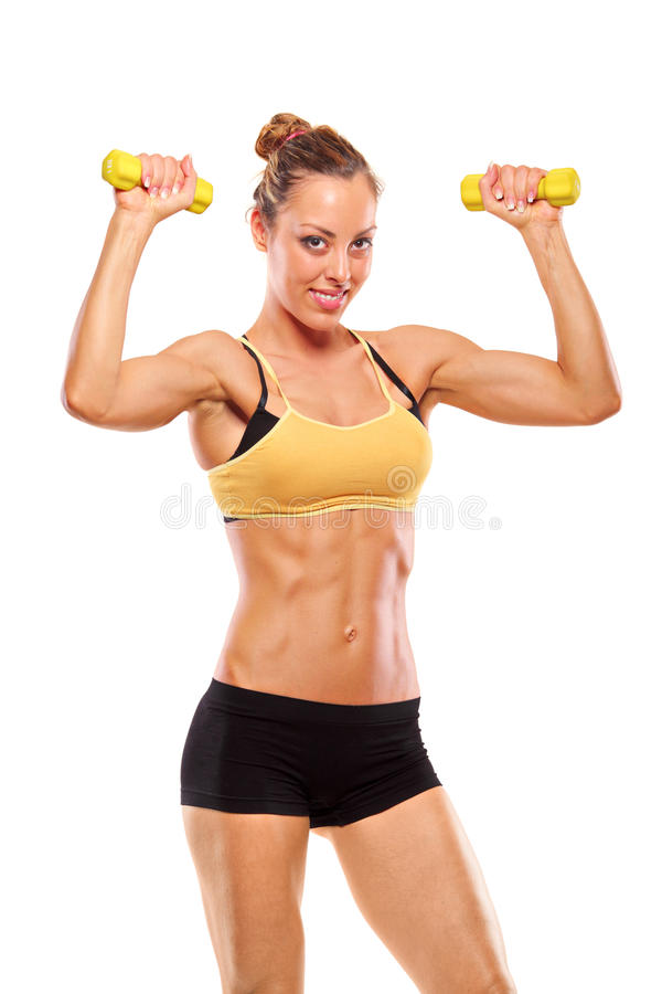 Free Young Attractive Woman With Weights Royalty Free Stock Images - 13566909