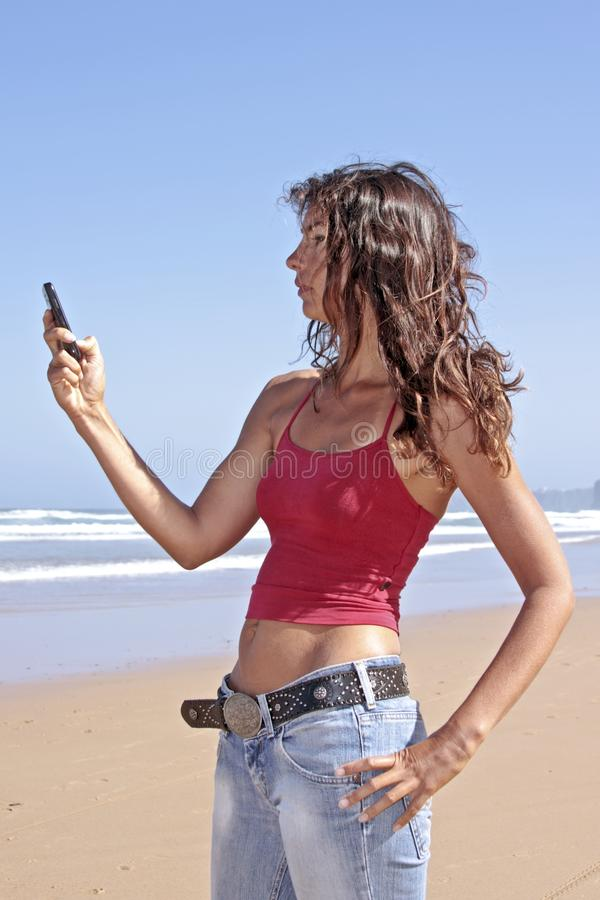 Download Young Attractive Woman Writing A Text Message Stock Image - Image of horizon, chatting: 15579405