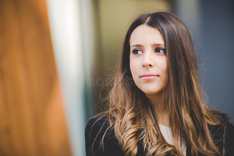Young authentic business woman outdoor smiling royalty free stock images