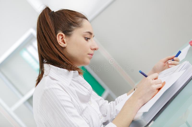 Young author writing story stock photos
